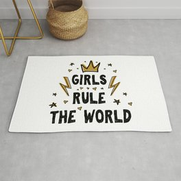 Girls rule the world - funny feminism humor sayings typography illustration with thunder and star Rug
