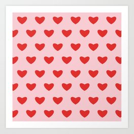 Red hearts pattern on pink background Art Print