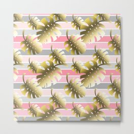 Tropical gold cheese leaves pastel color stripes Metal Print