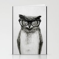 glasses Stationery Cards featuring Mr. Owl by Isaiah K. Stephens