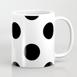 Large Polka Dots - Black on White Coffee Mug