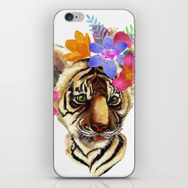 Tiger Cub with Flowers iPhone Skin