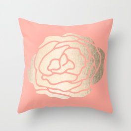Rose White Gold Sands on Salmon Pink Throw Pillow