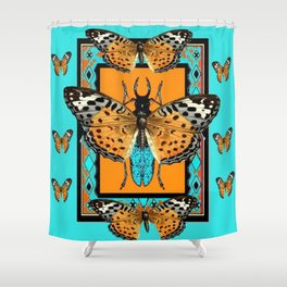 WESTERN  BUTTERFLIES ORANGE BEETLE TURQUOISE ART Shower Curtain