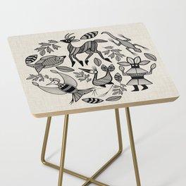 African Senufo Korhogo Tribal Ethnic Art Seamless Pattern Side Table