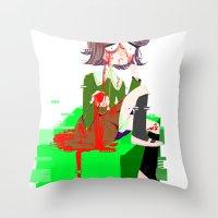 chihiro Throw Pillows featuring Chihiro Fujisaki by hellokittyloli