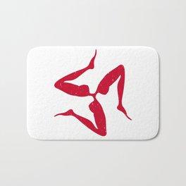 Sicilian Three Legs Symbol in Japanese Red | Trinacria or Triquetra Bath Mat