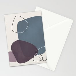 Abstract Glimpses in Peninsula Blue and Aubergine Stationery Cards