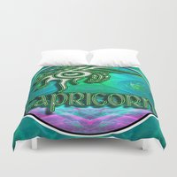 astrology Duvet Covers featuring Capricorn Zodiac Sign Astrology by CAP Artwork & Design