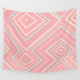 Pink, Green, Yellow, and Peach Lines - Illusion Wall Tapestry