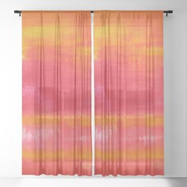 'Summer Day'  Orange Red Yellow Abstract Art Sheer Curtain