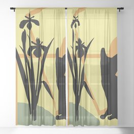abstract daffodils flower black Cat Sheer Curtain