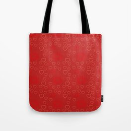 Bright ruby red fancy abstract love style pattern with fine golden hearts and bubbles Tote Bag