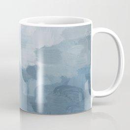 Indigo Navy Sky Blue Gray White Ocean Horizon, Abstract Sea Rainy Cloudy Stormy Water, Painting Art Coffee Mug