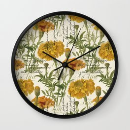 Vintage marigolds Wall Clock