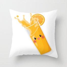 KAWAII CUTE ORANGE JUICE Throw Pillow