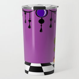 An Elegant Hall of Mirrors with Chandler and Topiary in Purples Travel Mug
