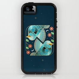 Beautiful Art Deco Midnight Bluebirds And Blossoms iPhone Case