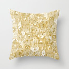 canadian animals gold white Throw Pillow
