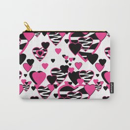 Hot Pink Zebra Animal Print Geometric Hearts Carry-All Pouch