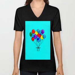 A Bouquet of Balloons with a Blue Background Unisex V-Neck