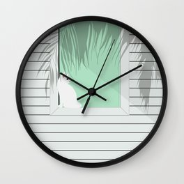 Mint and cat Wall Clock