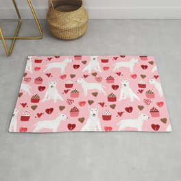 Bull Terrier white valentines day cupcakes hearts dog breed pet friendly dog gifts bull terriers Rug