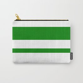 Mixed Horizontal Stripes - White and Green Carry-All Pouch