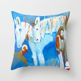 Birth of Baby Epona Throw Pillow