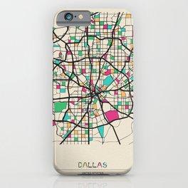 Colorful City Maps: Dallas, Texas iPhone Case