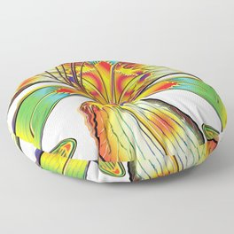 Rockin Tiger Lily Flower Psychedelic Abstract Floor Pillow