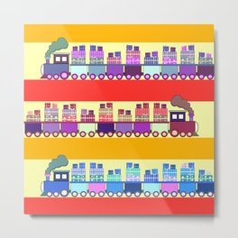 Colorful trains with Christmas gifts Metal Print