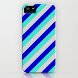 Light Grey, Blue, and Turquoise Colored Lined/Striped Pattern iPhone Case