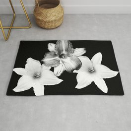 White Lilies on Black #1 #floral #decor #art #society6 Rug