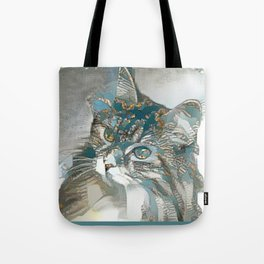 Kitty in Blue Tote Bag
