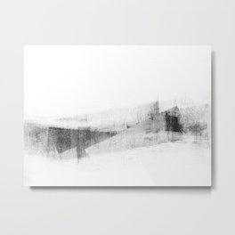 Minimalist Geometric Abstract in Grey and White Metal Print