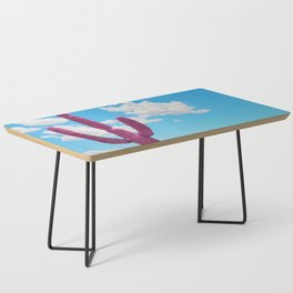 Pink Saguaro Against Blue Cloudy Sky Coffee Table