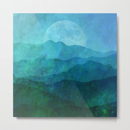 Blue Abstract Landscape Metal Print