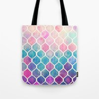 green Tote Bags featuring Rainbow Pastel Watercolor Moroccan Pattern by micklyn