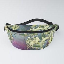 Wattle blooms in an abstract landscape Fanny Pack