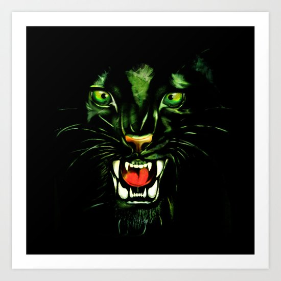 Fierce and Powerful Black Panther Art Print