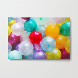 Rainbow Party Balloons Metal Print