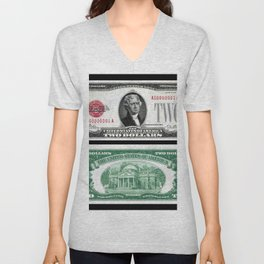 1928 Red Seal Jefferson Two Dollar Bill Bank Note Unisex V-Neck