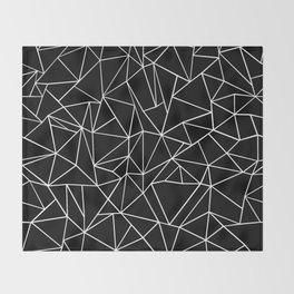 Abstraction Outline Black and White Throw Blanket