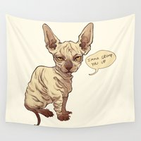 sphynx Wall Tapestries featuring Angry Sphynx by Henri Scribner