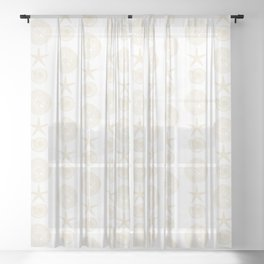 Beachy Seashell Pattern Sheer Curtain