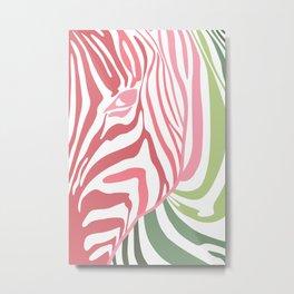 Pink And Green Zebra Portrait, Animal Photo, Large Printable Photography, Stripes Wall Art, Striped Metal Print