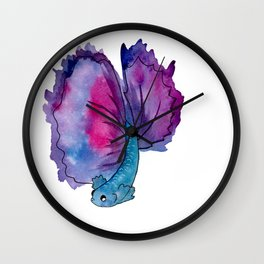 purple fish Wall Clock
