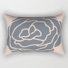 Minimalist Flower Navy Gray on Blush Pink Rectangular Pillow