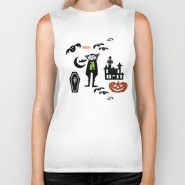 Cute Dracula and friends teal #halloween Biker Tank